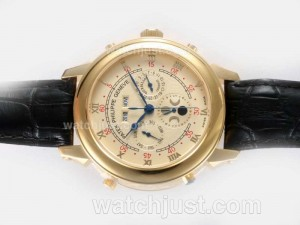 Replica Patek Philippe Astronomical Celestial Double Dial With Full Gold Case Golden Dial Watch